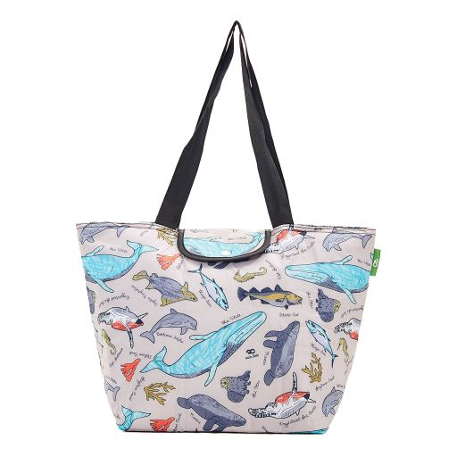 Eco Chic - Large Cool Bag - E07GY - Grey - Sea Creatures