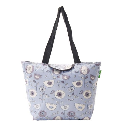 Eco Chic - Large Cool Bag - E09GY - Grey - 1950's Flower