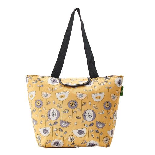 Eco Chic - Large Cool Bag - E09MD - Mustard - 1950's Flower
