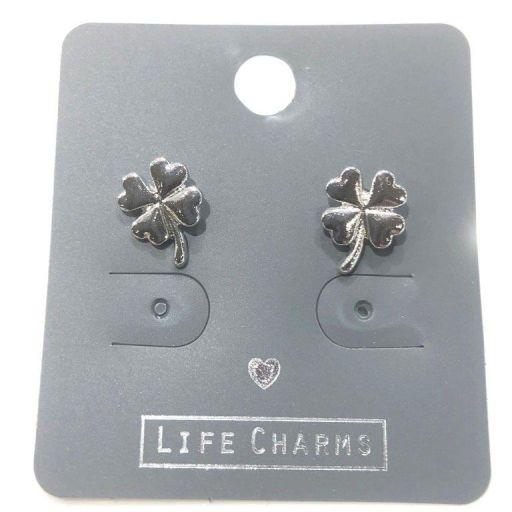 Life Charms - EAR138 - Oorbellen - Four Clover Leaf