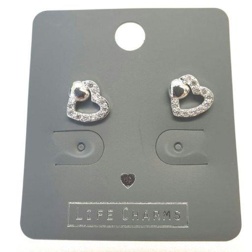 Life Charms - EAR164 - Oorbellen - 2 Hearts CZ