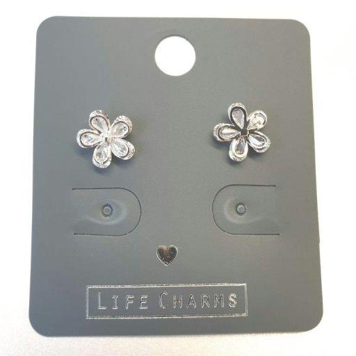 Life Charms - EAR181 - Oorbellen - CZ Flowers