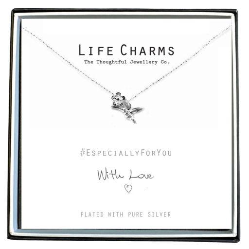 Life Charms - EFY010N - Verzilverd collier - Hummingbird (kolibri)