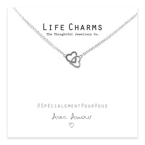 Life Charms - EFY033N - Necklace Silver Crystal Entwined Hearts