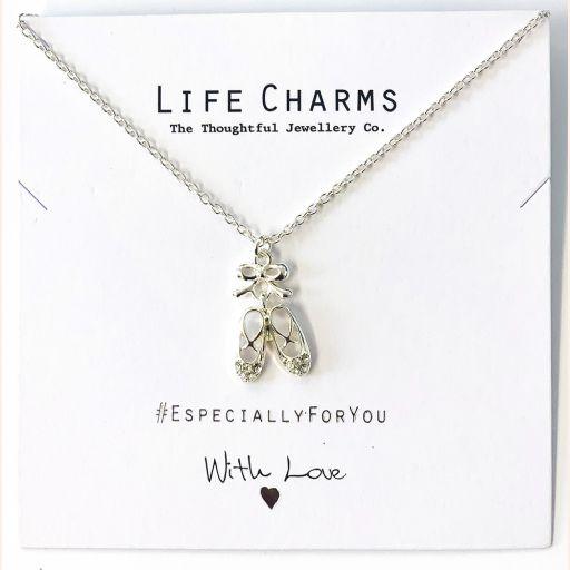 Life Charms - EFY036N - Verzilverde collier - Ballet shoes