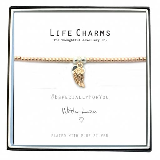 480702W - Life Charms - EFYENC002WING - Bracelets gold-silver angel wing and heart