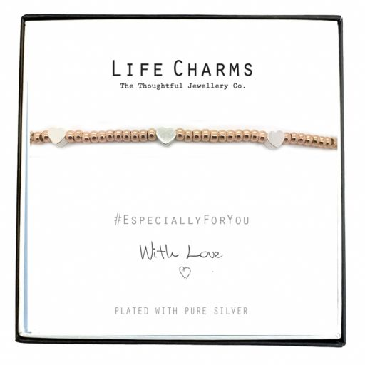 Life Charms - EFYENCOO4RG - Bracelet Rose Gold with silver heart