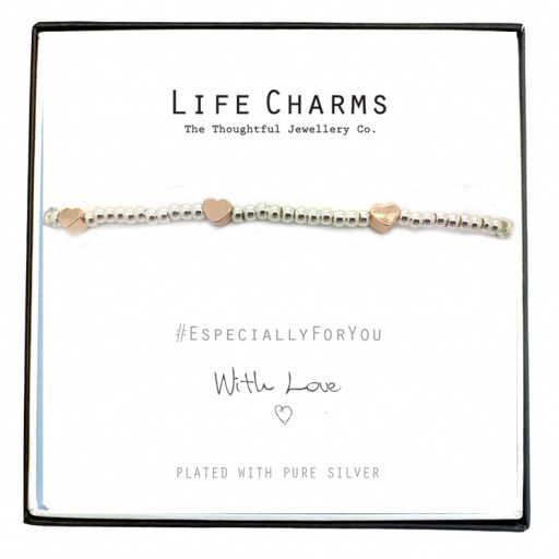 Life Charms - EFYENCOO4SIL - Bracelet Silver with Rose Gold hearts