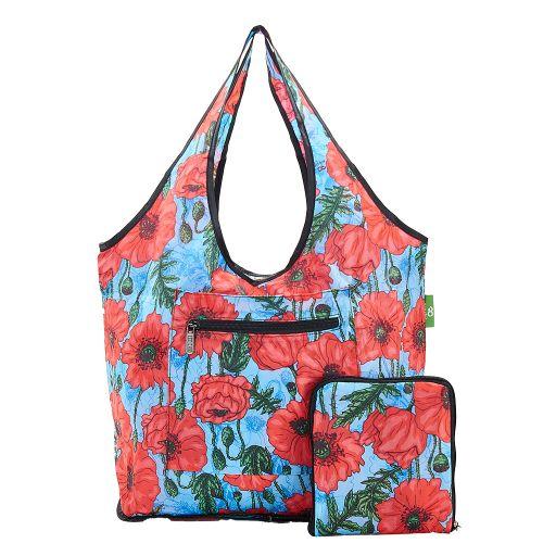 Eco Chic - Foldable Weekend Bag - F05BU - Blue Poppies
