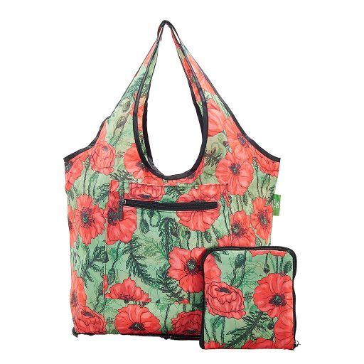 Eco Chic - Foldable Weekend Bag - F05GN - Green Poppies