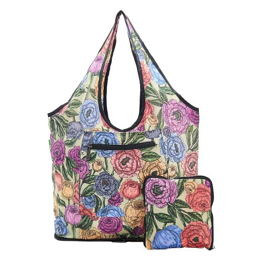 Eco Chic - Foldable Weekend Bag - F06GN - Green Peonies