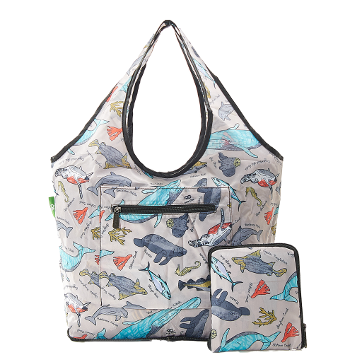 Eco Chic - Foldable Weekend Bag - F07GY - Grey Sea Creatures