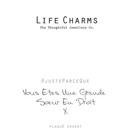 Life Charms FR - LC081BWF - Just because - Vous Êtes Une Grande Sœur En Droit