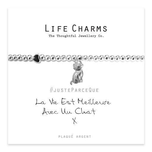 Life Charms FR - LC066BWF - Just because - La Vie Est Meilleure Avec Un Chat