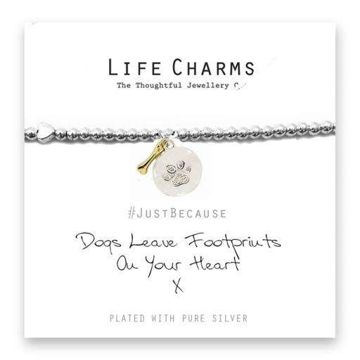 480277 Life Charms - LC077BW - Just because - Dogs Leave Footprints