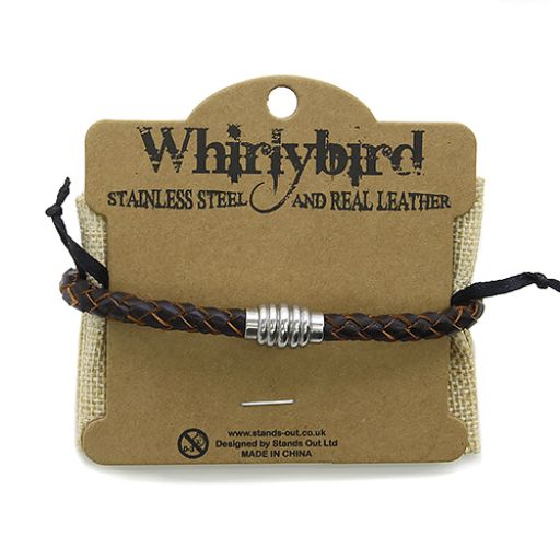 Whirly Bird Stainless Steel Leather bracelet - SL12 bruin