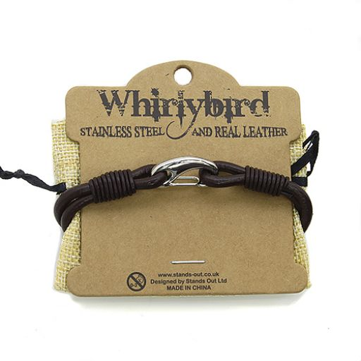 Whirly Bird Stainless Steel Leather bracelet - SL16 bruin