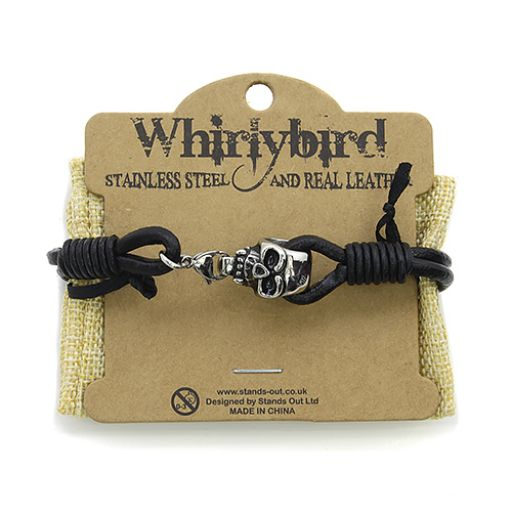 Whirly Bird Stainless Steel Leather bracelet - SL17 zwart
