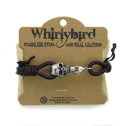 Whirly Bird Stainless Steel Leather bracelet - SL18 bruin