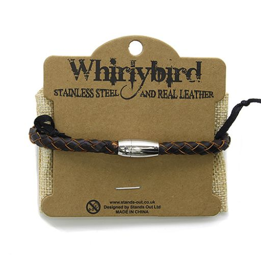 Whirly Bird Stainless Steel Leather bracelet - SL19 bruin
