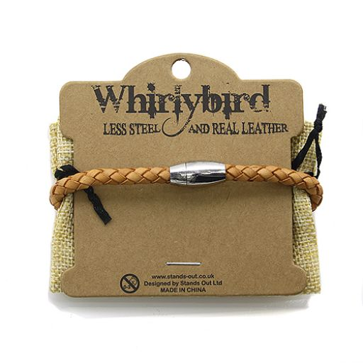 Whirly Bird Stainless Steel Leather bracelet - SL20