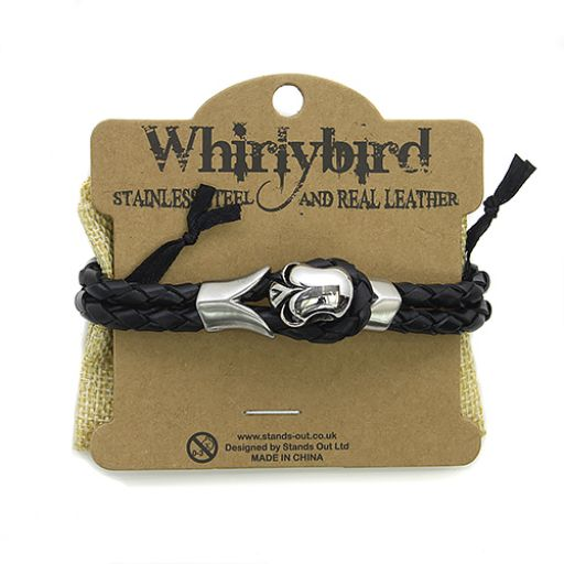 Whirly Bird Stainless Steel Leather bracelet - SL21