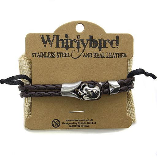 Whirly Bird Stainless Steel Leather bracelet - SL22 (Whirly Bird)