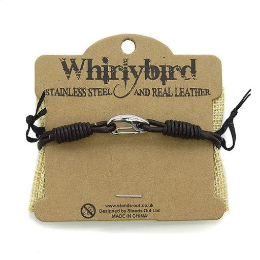 Whirly Bird Stainless Steel Leather bracelet bruin - SL23