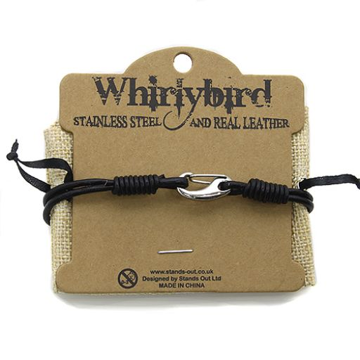 Whirly Bird Stainless Steel Leather bracelet zwart - SL24
