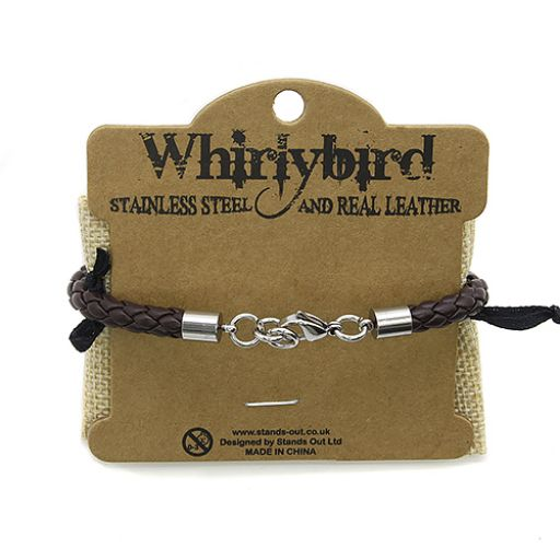 Whirly Bird Stainless Steel Leather bracelet - SL7 bruin
