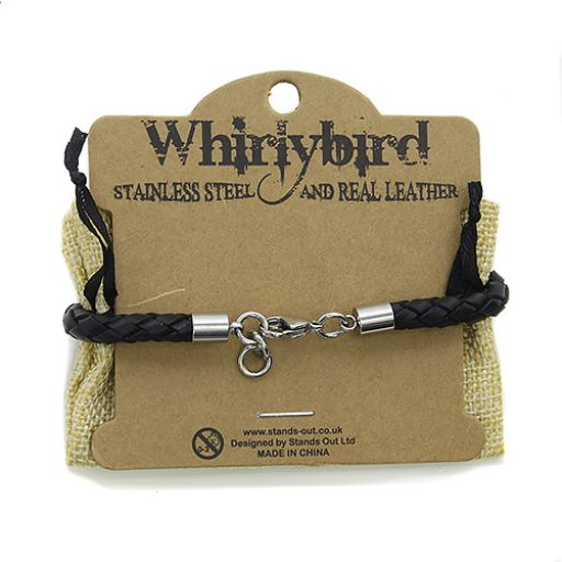 Whirly Bird Stainless Steel Leather bracelet - SL8 zwart
