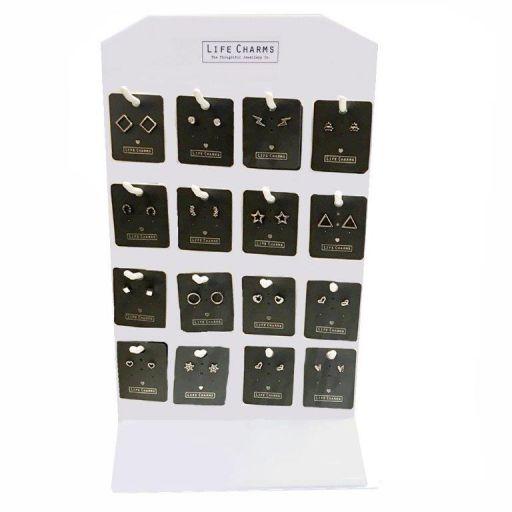 Tafeldisplay gevuld - Life Charms - Oorbellen 32 x 3 stuks