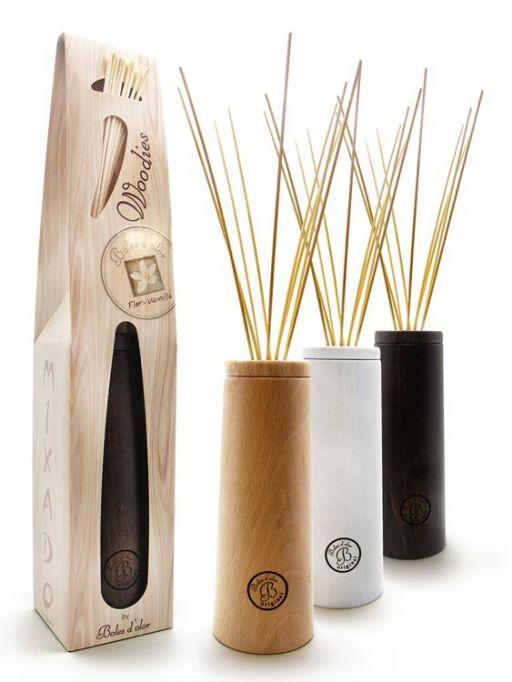 Boles d'olor Woodies Geurstokjeshouder naturel + geurolie Katoen (Cotonet)