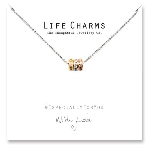 Life Charms - YY01 - Necklace 3 colour Gold CZ Pave Rings