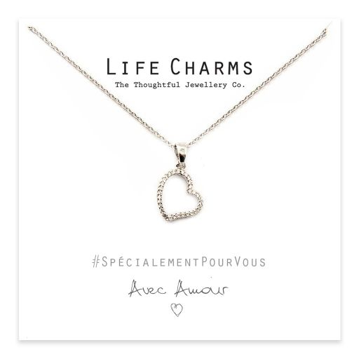 Life Charms - YY02 - Necklace Silver CZ Open Heart