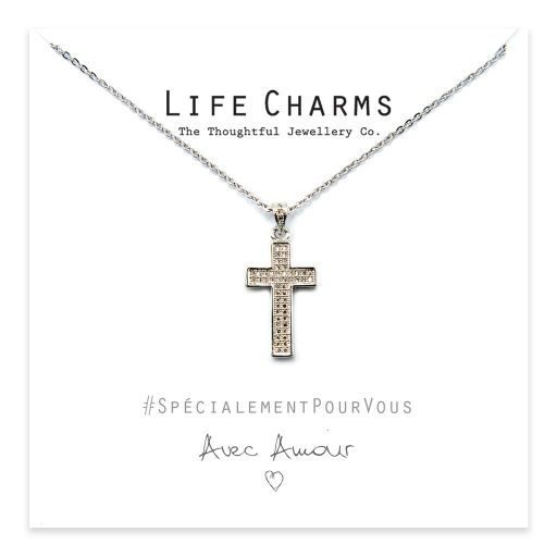Life Charms - YY03 - Necklace Silver CZ Pave Cross