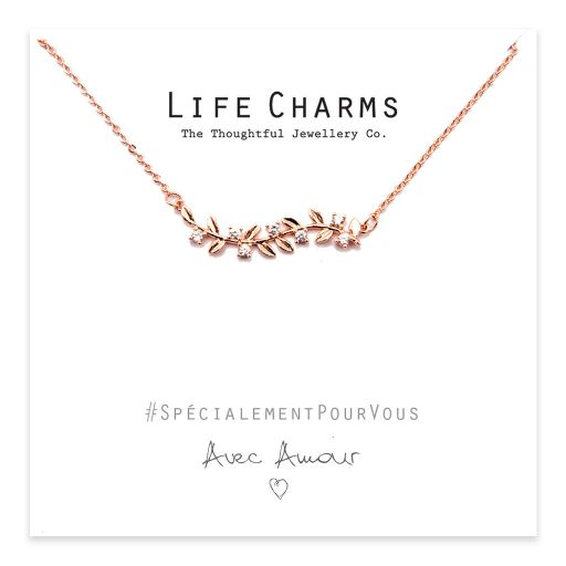 Life Charms - YY04 - Necklace Rose Gold Leaves