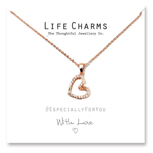 480505 - Life Charms - YY05 - Necklace Rose Gold CZ Open Heart