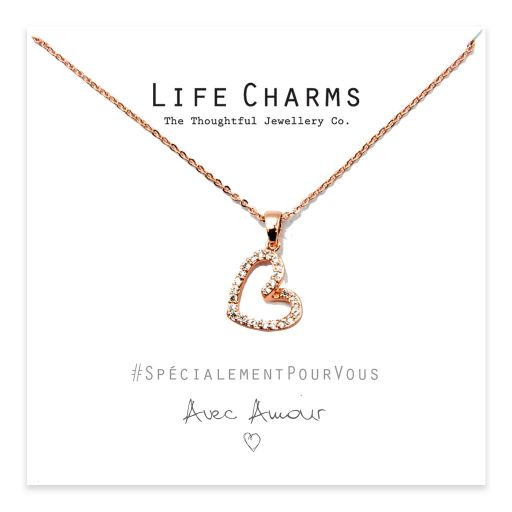Life Charms - YY05 - Necklace Rose Gold CZ Open Heart