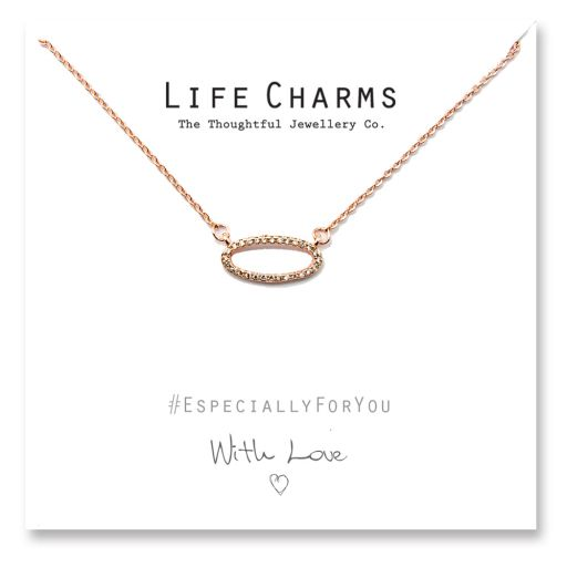 480507 - Life Charms - YY07 - Necklace Rose Gold CZ Oval