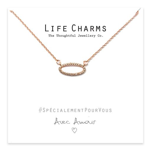 Life Charms - YY07 - Necklace Rose Gold CZ Oval