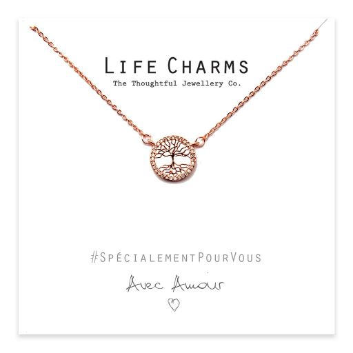 Life Charms - YY08 - Necklace Rose Gold CZ Tree of Life