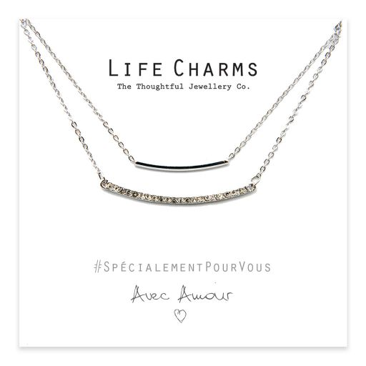 Life Charms - YY09 - Necklace 2 Layer Crystal Bar