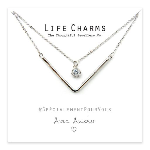 Life Charms - YY10 - Necklace 2 Layer Silver Chevron and a Crystal