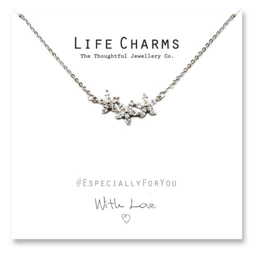 480512 - Life Charms - YY12 - Necklace Silver CZ Flower