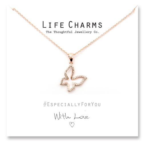 480513 - Life Charms - YY13 - Necklace Rose gold Crystal Butterfly