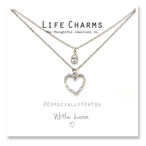 480514 - Life Charms - YY14 - Necklace 2 layer CZ Silver Heart + Teardrop
