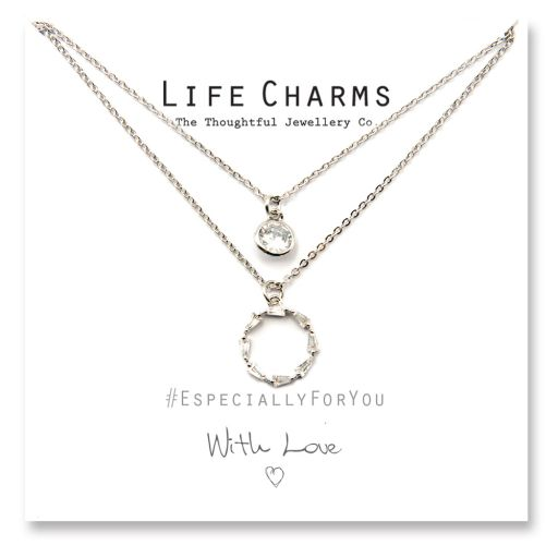 480515 - Life Charms - YY15 - Necklace 2 layer CZ Silver Forever Circle
