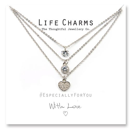 480517 - Life Charms - YY17 - Necklace 3 layer Heart Waterfall
