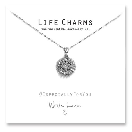 480518 - Life Charms - YY18 - Necklace Silver CZ Sunflower
